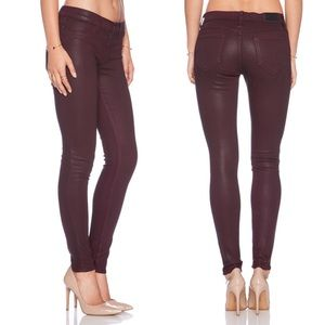WILDFOX MARIANNE Midrise SKINNY JEANS in BORDEAUX